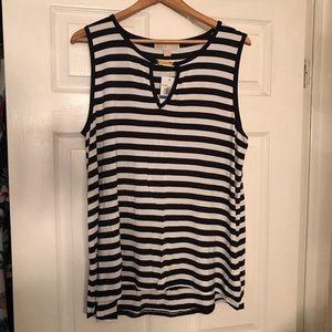 Michael Kors Navy & White Striped Sleeveless Top